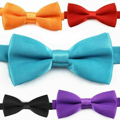 Kids Boys Childrens Adjustable Pre Tied Satin Wedding Dress Bow Ties 29 Colors