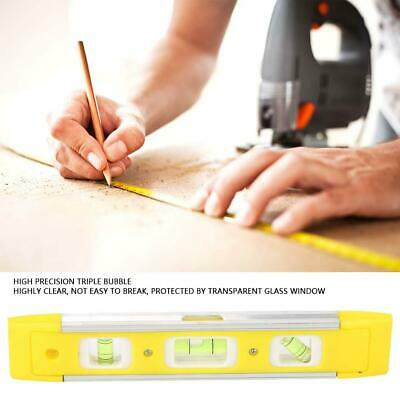 "9"" Magnetic Aluminum Alloy Torpedo Spirit Level Triple Ruler Measure Tool Yellow"