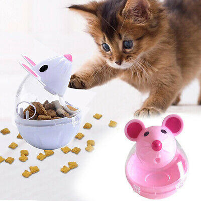 1 PC Cute Cat Feeders Tumbler Toy Automatic Food Dispenser Funny Mouse Shape