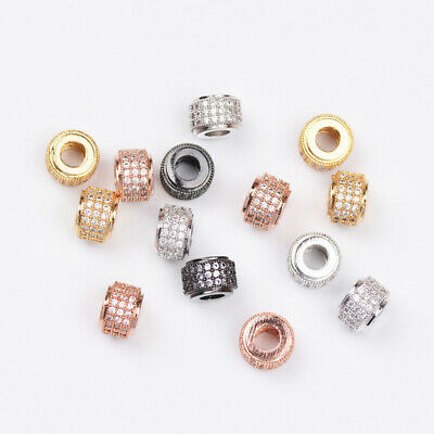 3 Rows Zircon Gemstones Pave Tube Bracelet Connector Charm Beads Jewelry Finding
