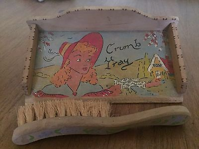 1930's Vintage Hand Made Dustpan & Broom | Crumb Tray One Off Original - RARE!