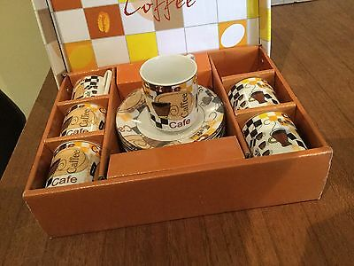 Terrific Vintage 50s Style Coffee Set - Six Cups & Saucers - As New In Box