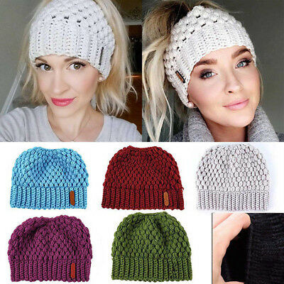 Women Girls Stretch Knit Hat Messy High Bun Ponytail Beanie Warm Hole Cap AU NEW