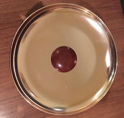 Vintage Gold Round Anodised Fruit Bowl / Tray - With Timber Pedestal & Detail