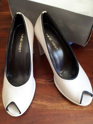 NINE WEST - Peep Toe - PUMPS - Kid Skin Leather - HEELS Sz 6.5 - *NEW* RRP $149