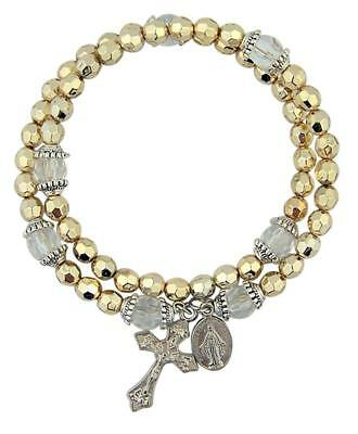 Gold Tone Cap Bead Crucifix and Miraculous Medal Rosary Bracelet, 1 Pack, 8 Inch