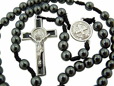 Boys My First Communion Gift Hematite Bead with St Benedict Medal Center Rosary