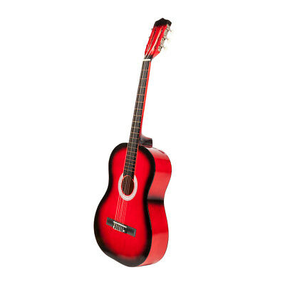 "US 38"" Classic Acoustic Guitar 6 String Red For Beginners Student Adults w/ Pick"