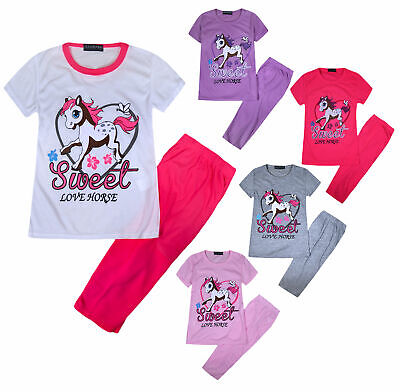 Girls Summer Set Kids T-shirt Top And Leggings Set Age 2 3 4 5 6 7 8 9 10 Years