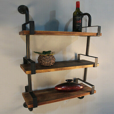 Industrial 3-shelf Wall Shelves Iron Pipe Wood Vintage Bookcase Home/Office H5D1