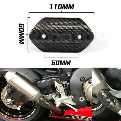 Motorcycle Exhaust Heat Shield Tube Cover Heel Guard Protector Real Carbon Fiber