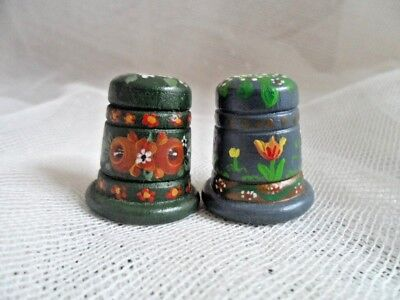 Vintage Hand Made and Hand Painted Wooden Thimbles x 2
