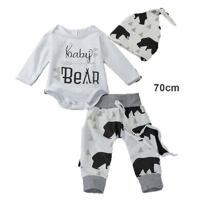 3x Newborn Baby Boy Girl Long Sleeve Tops Pants Hat Outfits Set Clothes HOT