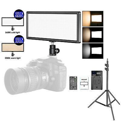 T120 Bi-color Dimmable LED Video Light Panel with Light Stand and Battery