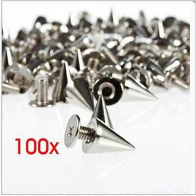 Silver Metal Bag Studs Cone Punk Spikes Spots Rivet Leathercraft DIY x100
