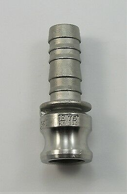 DIXON 3/4' E75 TYPE E CAM & GROOVE (CAMLOCK) MALE COUPLING x HOSE SHANK 316-SS