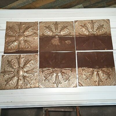 """6pc Lot of 12"""" by 12"""" Antique Ceiling Tin Vintage Reclaimed Salvage Art"""