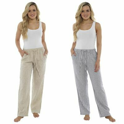 Ladies Girls Striped Trousers Linen Holiday Casual Summer