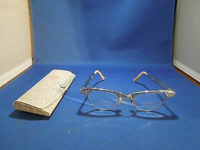 Vintage Women's Glasses Art-Craft 4 - 5 1/4 Trifocal Aluminum Frames with Case
