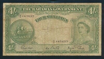 "Bahamas: 1953 £1 Sig 4 ""EARLY QEII PORTRAIT"". Pick 13d F - Cat VF $120, VG $23+"