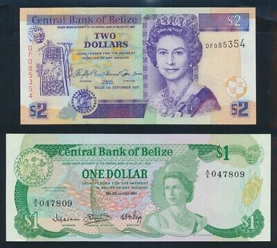 "Belize: 1-7-1983 $1 & $2 1-9-2007 ""QEII PORTRAIT"". Pick 43 & 66c UNC Cat $83*"