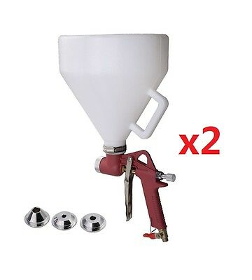 2PCS Air Hopper Spray Gun Paint Texture Tool Drywall Wall Painting Sprayer