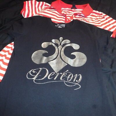 Lot of 2 House of Deréon black t-shirt and red polo shirt size Large