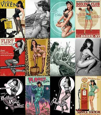 """Bettie Page Pin Up 15 Gallery Quality Art Prints Bombshell Vixen 12"""" X 18"""" Pinup"""