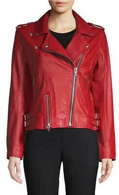 New Womens Blank NYC Old Flame Red Genuine Leather Moto Jacket - Size S - NWT
