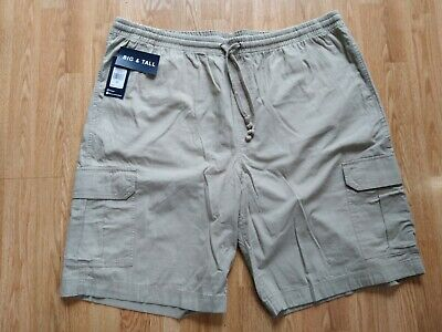 Chaps 100/% Cotton  Khaki Elastic Waist Pull on Poplin Cargo Shorts SR$45-72 NEW