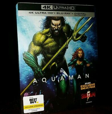 AQUAMAN (4K UHD+Blu-ray+Digital) STEELBOOK-BEST BUY EXCLUSIVE-BRAND NEW & SEALED