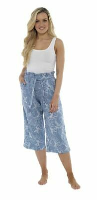 Ladies Girls Cropped Trousers Linen 3/4 Pants Floral Summer