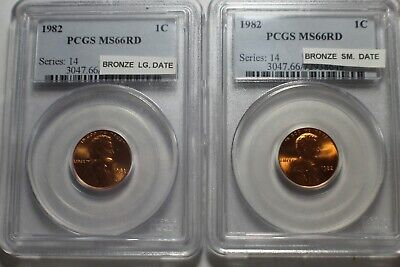 1982 Bronze Small / Large Date Lincoln Memorial Cent PCGS MS66 RD