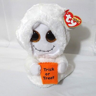 3ef063fef64 Ty Beanie Boos Mist Ghost Stuffed Plush Toy 7 inch White Orange NEW  Halloween