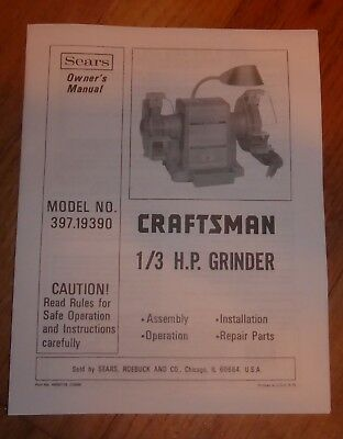 Awe Inspiring Sears Craftsman 1 3 Hp Grinder Owners Manual 397 19390 19390 Ocoug Best Dining Table And Chair Ideas Images Ocougorg