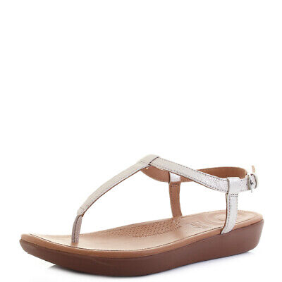 Womens Fitflop Tia Toe Thong Silver Premium Leather Sandals Sz Size