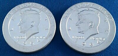Lot of 2 1964 Kennedy Half Dollar Design 1 Ounce .999 Silver Rounds