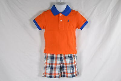 Baby Boy's Nautica 2 Piece Set with Solid Polo Plaid Shorts in Orange