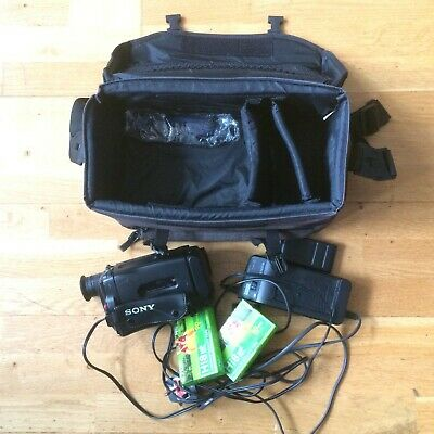 Sony Handycam Video 8 CCDTR330E with two batteries, two tapes and case.