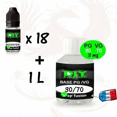 Lot base neutre - 1 L - PG/VG 30/70 + 3 à 6 mg  booster 20mg - Diy e liquide - V