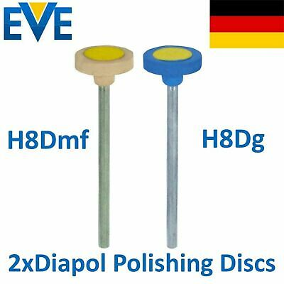 2 Dental EVE Diamond Polishing Discs Disks Ceramic Coarse Medium Polish Diapol