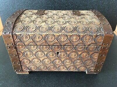 Vtg Handmade Carved Wood Brass Chest Box Trinket Jewellery Arts & Crafts Style