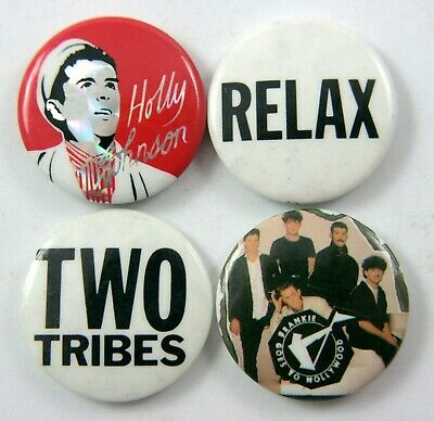 FRANKIE GOES TO HOLLYWOOD Button Badges 4 x Vintage Pin Badges * Holly Johnson *