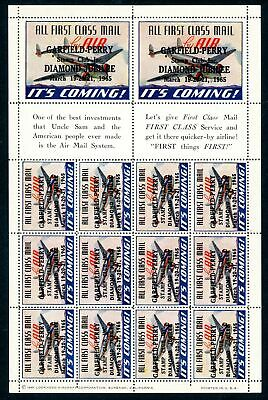 Z069 PHILEX Garfield-Perry Diamond Jubilee 1965 AIR MAIL LABELS with overprint