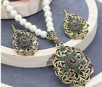 Romantic Vintage Pearl Beaded Turkish Jewelry Sets Antique Gold Color Necklace