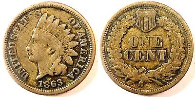 USA - One Cent (Indian Head) 1863 (Copper Nickel)