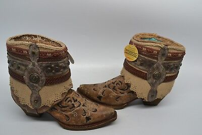 0f869e518eee8 CORRAL WOMEN'S 8.5 B Western Snip Toe Flipped Shaft & Straps Ankle Boots  A3463