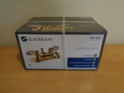 "Teapot 4"" Centerset 2-Handle Low-Arc Bathroom Faucet Polished Brass Glacier Bay"