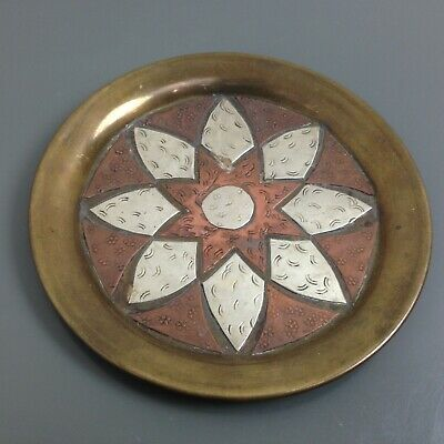 Mixed Metal Bronze Copper Silver Round Decorative Plate Flower Art Wall Hanging