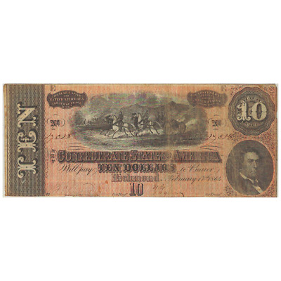 1864 $10 Confederate States of America Richmond, V.A. Banknote Civil War